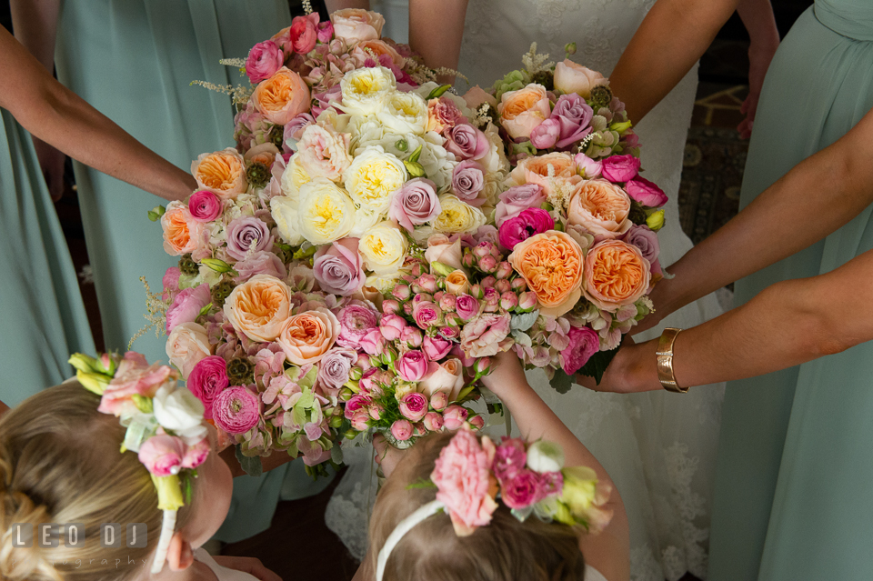 Flower bouquets from the Bride, Maid of Honor, Bridesmaids, and flower girls. Historic Inns of Annapolis Maryland, Governor Calvert House wedding, by wedding photographers of Leo Dj Photography. http://leodjphoto.com