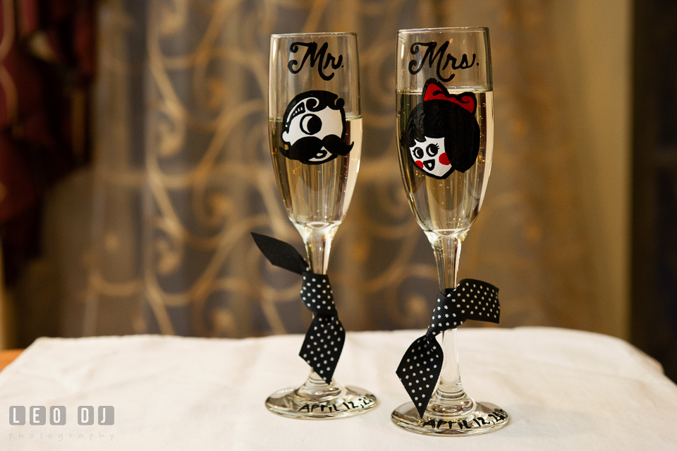 Custom painted champagne glasses with Natty Boh and Utz Girl. Historic Inns of Annapolis Maryland, Governor Calvert House wedding, by wedding photographers of Leo Dj Photography. http://leodjphoto.com