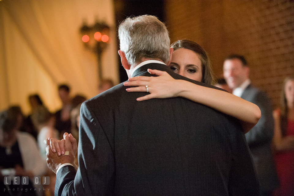 Bride enjoying the moment during the Father-daughter dance. Historic Inns of Annapolis Maryland, Governor Calvert House wedding, by wedding photographers of Leo Dj Photography. http://leodjphoto.com