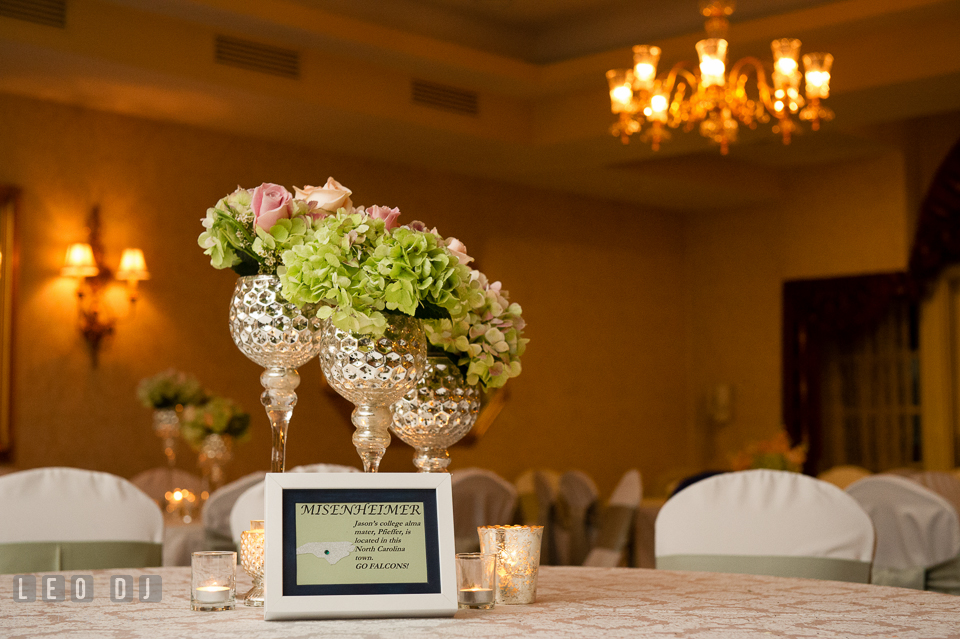 Close up shot of the table centerpieces. Historic Inns of Annapolis Maryland, Governor Calvert House wedding, by wedding photographers of Leo Dj Photography. http://leodjphoto.com