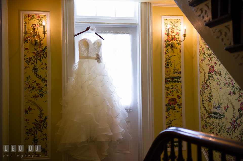 Beautiful wedding gown by Allure from Betsy Robinson's Bridal. Kent Manor Inn, Kent Island, Eastern Shore Maryland, wedding ceremony and getting ready photos, by wedding photographers of Leo Dj Photography. http://leodjphoto.com