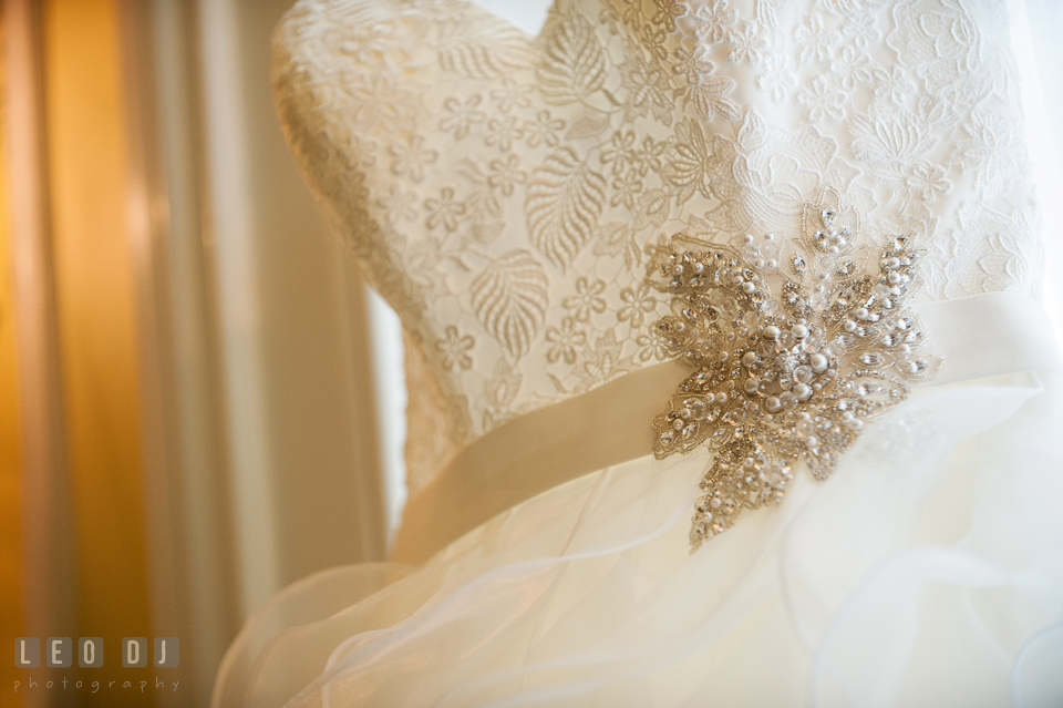 Exquisite details of the wedding dress by Allure from Betsy Robinson's Bridal. Kent Manor Inn, Kent Island, Eastern Shore Maryland, wedding ceremony and getting ready photos, by wedding photographers of Leo Dj Photography. http://leodjphoto.com