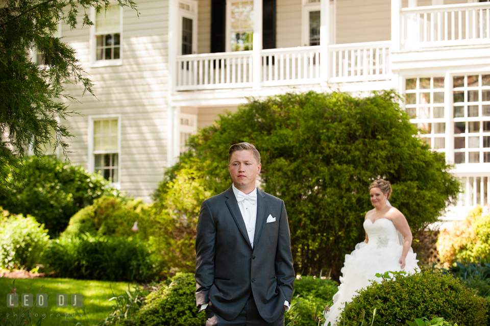 Bride walking toward Groom during first reveal. Kent Manor Inn, Kent Island, Eastern Shore Maryland, wedding ceremony and getting ready photos, by wedding photographers of Leo Dj Photography. http://leodjphoto.com