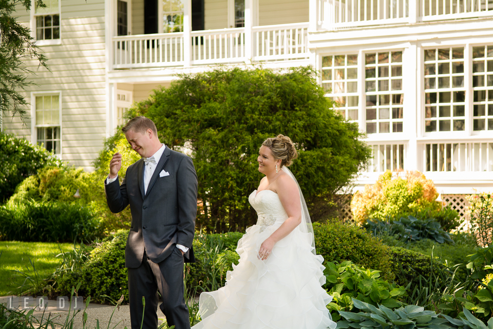 Groom crying seeing Bride during first look. Kent Manor Inn, Kent Island, Eastern Shore Maryland, wedding ceremony and getting ready photos, by wedding photographers of Leo Dj Photography. http://leodjphoto.com