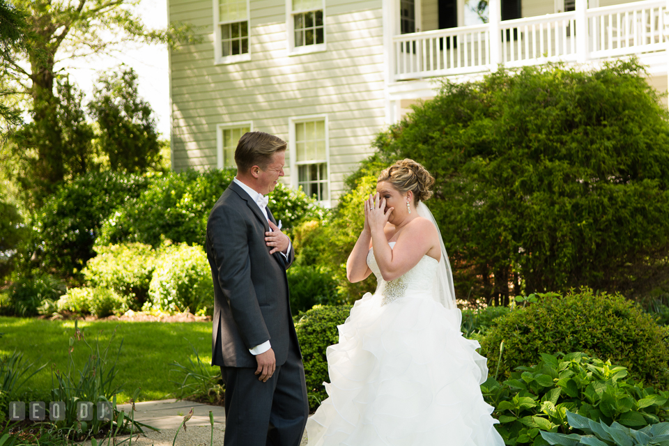 Both bride and groom shed a tear seeing each other for the first time before the ceremony. Kent Manor Inn, Kent Island, Eastern Shore Maryland, wedding ceremony and getting ready photos, by wedding photographers of Leo Dj Photography. http://leodjphoto.com