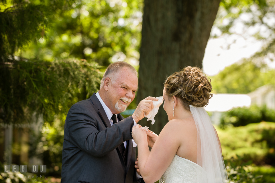 Father smiling and wiping of tears from Bride during first look. Kent Manor Inn, Kent Island, Eastern Shore Maryland, wedding ceremony and getting ready photos, by wedding photographers of Leo Dj Photography. http://leodjphoto.com