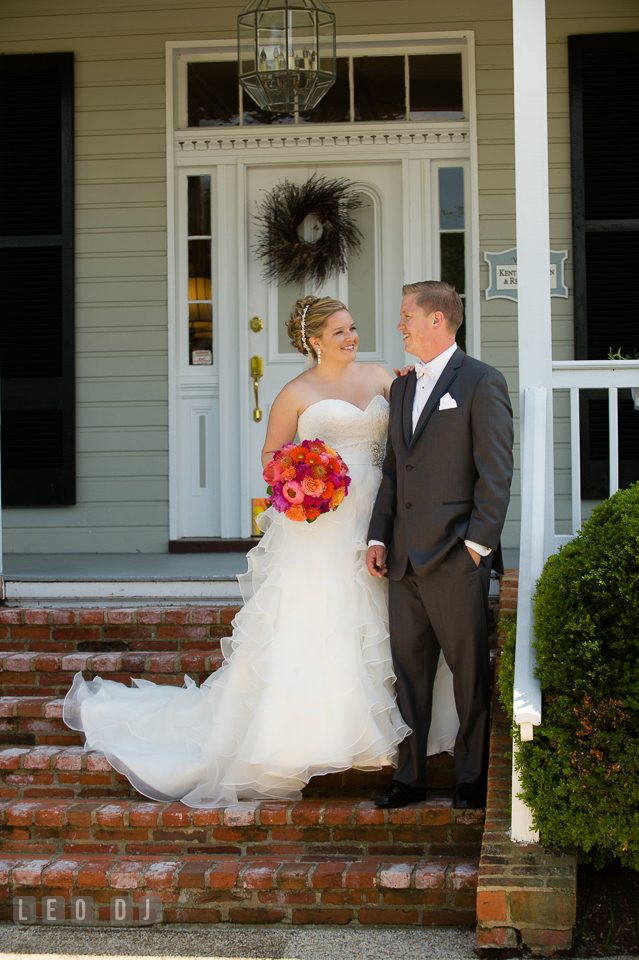 Bride and Groom smiling together on front steps of venue. Kent Manor Inn, Kent Island, Eastern Shore Maryland, wedding ceremony and getting ready photos, by wedding photographers of Leo Dj Photography. http://leodjphoto.com