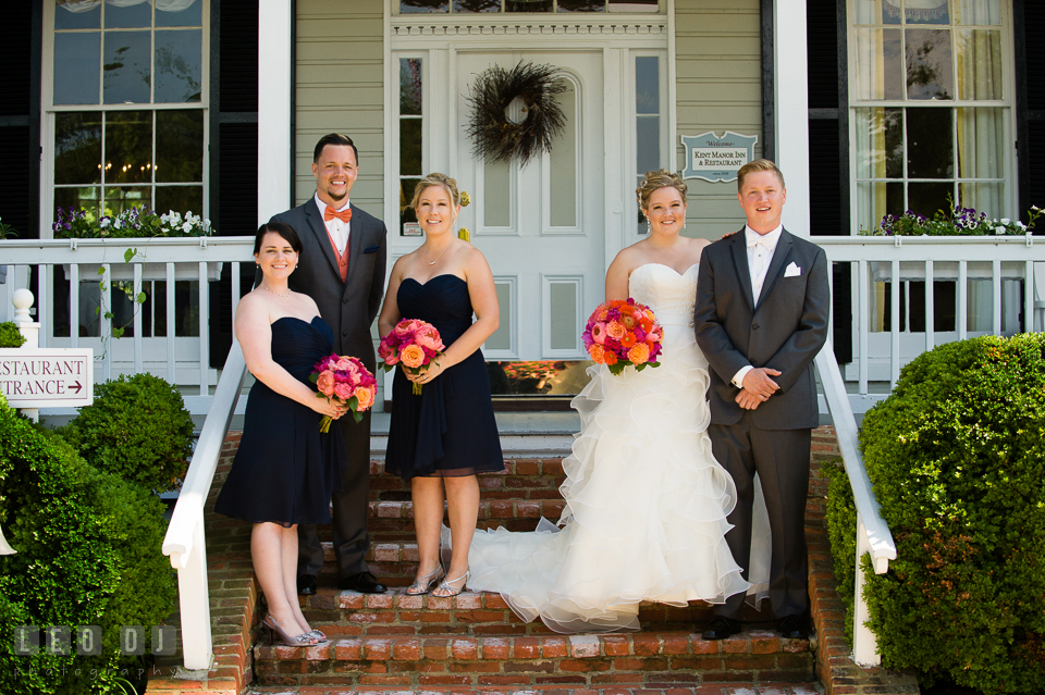 Bride and Groom posing together with the Best Man and Matron of Honors. Kent Manor Inn, Kent Island, Eastern Shore Maryland, wedding ceremony and getting ready photos, by wedding photographers of Leo Dj Photography. http://leodjphoto.com