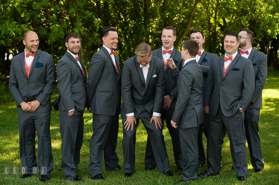 Groom laughed together with the Best Man and Groomsmen. Kent Manor Inn, Kent Island, Eastern Shore Maryland, wedding ceremony and getting ready photos, by wedding photographers of Leo Dj Photography. http://leodjphoto.com