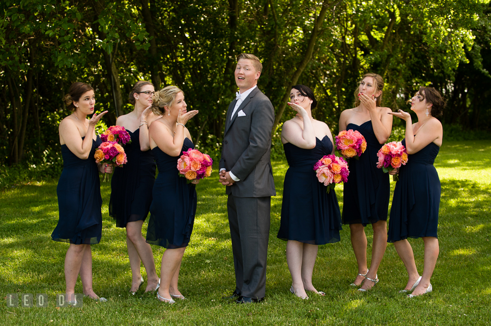 Groom posing together with the Bridal party. Kent Manor Inn, Kent Island, Eastern Shore Maryland, wedding ceremony and getting ready photos, by wedding photographers of Leo Dj Photography. http://leodjphoto.com