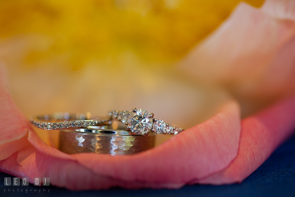 Close up shot of Bride and Groom's gorgeous engagement ring and wedding bands. Kent Manor Inn, Kent Island, Eastern Shore Maryland, wedding ceremony and getting ready photos, by wedding photographers of Leo Dj Photography. http://leodjphoto.com