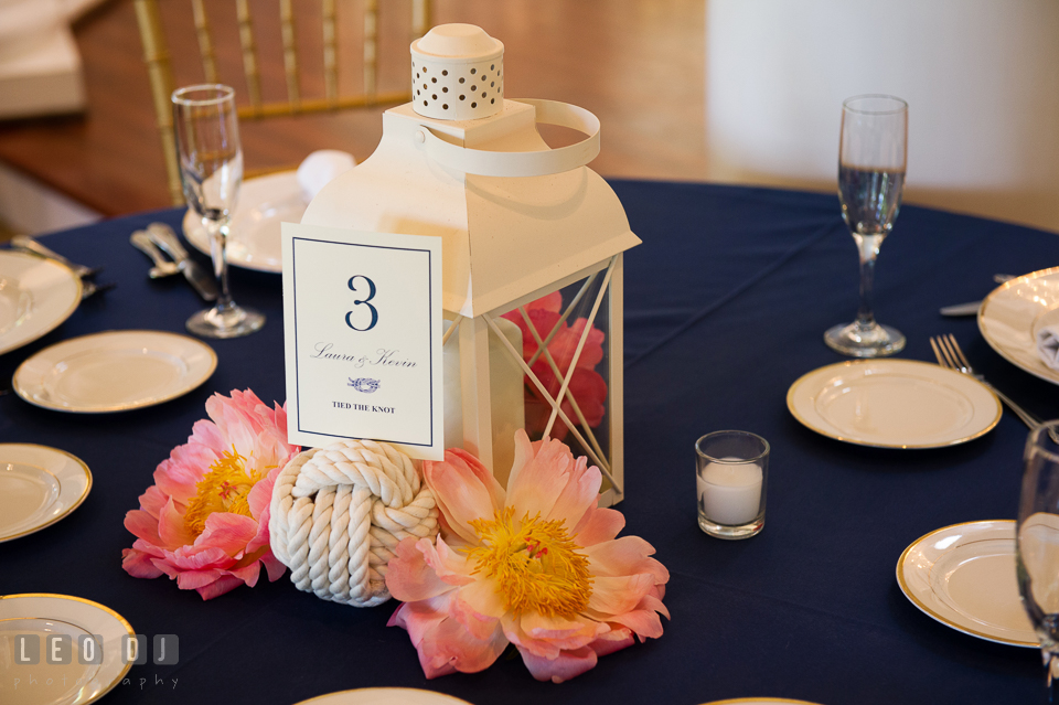 Floral arrangements, candles and lantern with traces of nautical themes for table centerpiece. Kent Manor Inn, Kent Island, Eastern Shore Maryland, wedding reception and ceremony photo, by wedding photographers of Leo Dj Photography. http://leodjphoto.com