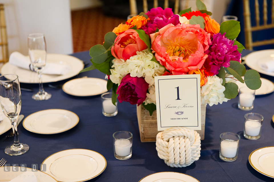 Large purple and pink peonies floral arrangement with nautical rope knot for table centerpiece. Kent Manor Inn, Kent Island, Eastern Shore Maryland, wedding reception and ceremony photo, by wedding photographers of Leo Dj Photography. http://leodjphoto.com
