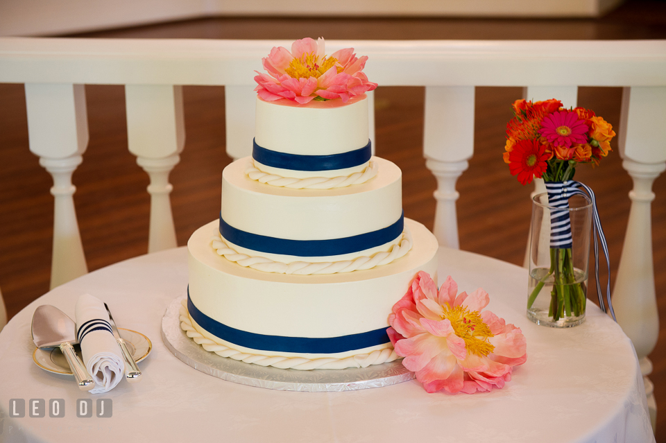 Peonies on 3-tier wedding cake, made by Sugar Bakers. Kent Manor Inn, Kent Island, Eastern Shore Maryland, wedding reception and ceremony photo, by wedding photographers of Leo Dj Photography. http://leodjphoto.com
