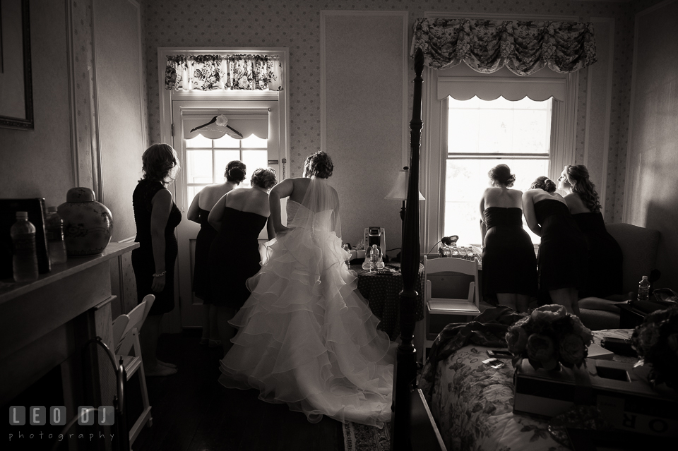 Bride, Mother, Maid and Matron of Honor, and Bridesmaids watching the guests arrive. Kent Manor Inn, Kent Island, Eastern Shore Maryland, wedding ceremony and getting ready photos, by wedding photographers of Leo Dj Photography. http://leodjphoto.com