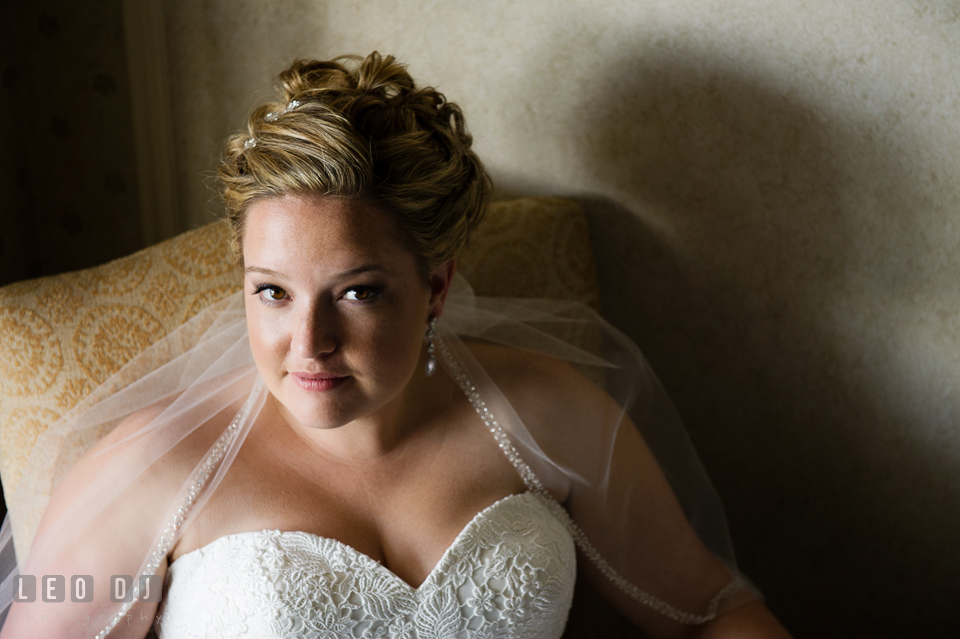Close up beauty shot of Bride. Kent Manor Inn, Kent Island, Eastern Shore Maryland, wedding ceremony and getting ready photos, by wedding photographers of Leo Dj Photography. http://leodjphoto.com