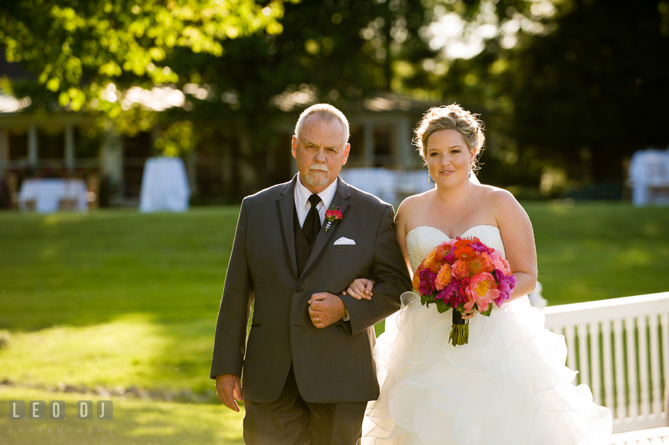 Father of the Bride escorting daugther walking down the aisle. Kent Manor Inn, Kent Island, Eastern Shore Maryland, wedding ceremony and getting ready photos, by wedding photographers of Leo Dj Photography. http://leodjphoto.com