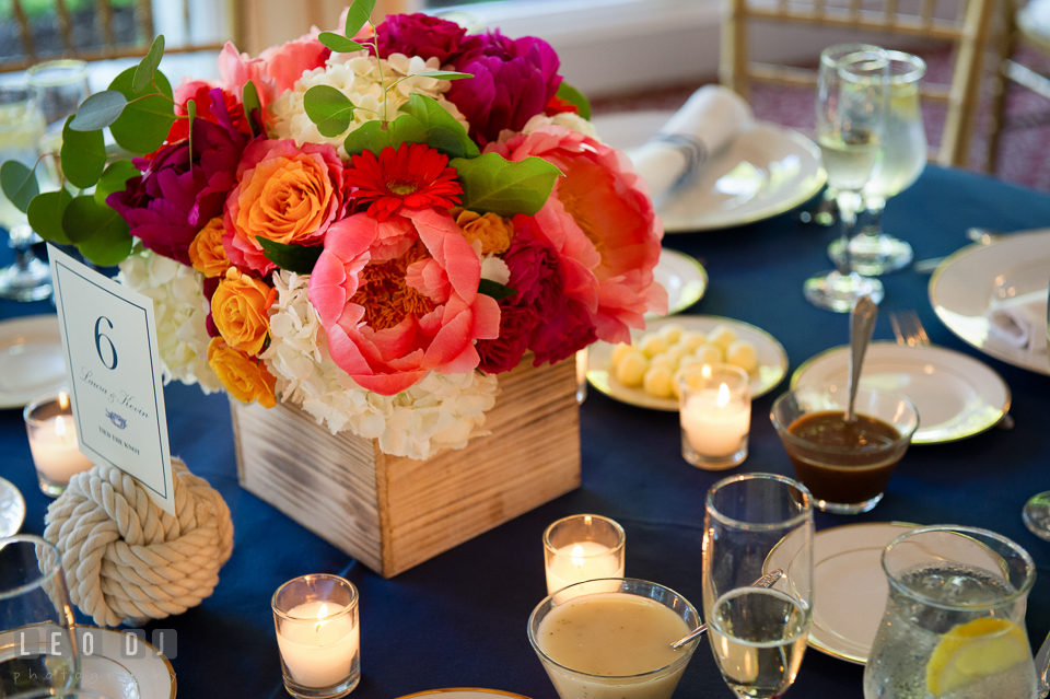 Wooden box of hydrangea, peonies, roses, gerberas for table centerpiece. Kent Manor Inn, Kent Island, Eastern Shore Maryland, wedding reception and ceremony photo, by wedding photographers of Leo Dj Photography. http://leodjphoto.com