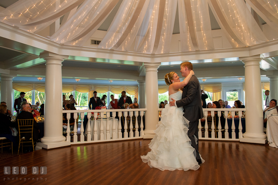 Bride and Groom first dance in the Garden House. Kent Manor Inn, Kent Island, Eastern Shore Maryland, wedding reception and ceremony photo, by wedding photographers of Leo Dj Photography. http://leodjphoto.com