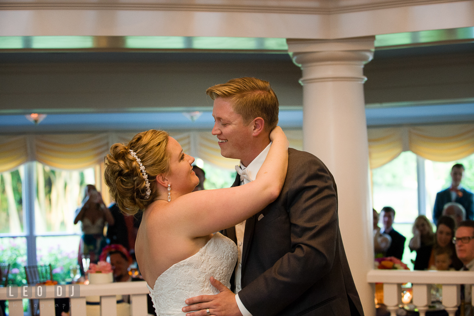 Bride and Groom smiling during first dance. Kent Manor Inn, Kent Island, Eastern Shore Maryland, wedding reception and ceremony photo, by wedding photographers of Leo Dj Photography. http://leodjphoto.com