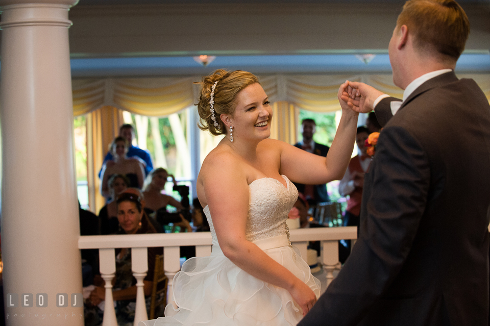 Groom twirling Bride during first dance. Kent Manor Inn, Kent Island, Eastern Shore Maryland, wedding reception and ceremony photo, by wedding photographers of Leo Dj Photography. http://leodjphoto.com