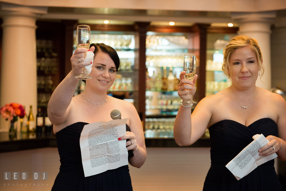 Two Matron of Honors raised their champagne glasses during the toast. Kent Manor Inn, Kent Island, Eastern Shore Maryland, wedding reception and ceremony photo, by wedding photographers of Leo Dj Photography. http://leodjphoto.com