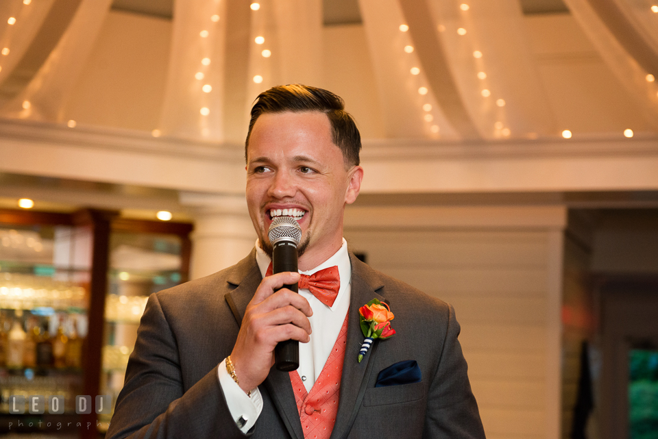 Groom delivering his toast speech. Kent Manor Inn, Kent Island, Eastern Shore Maryland, wedding reception and ceremony photo, by wedding photographers of Leo Dj Photography. http://leodjphoto.com