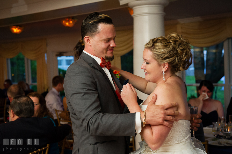 Bride hugging Best Man after his toast speech. Kent Manor Inn, Kent Island, Eastern Shore Maryland, wedding reception and ceremony photo, by wedding photographers of Leo Dj Photography. http://leodjphoto.com