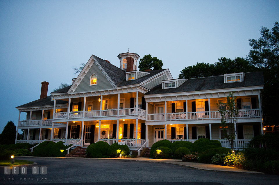 Evening view of the restaurant and venue. Kent Manor Inn, Kent Island, Eastern Shore Maryland, wedding reception and ceremony photo, by wedding photographers of Leo Dj Photography. http://leodjphoto.com