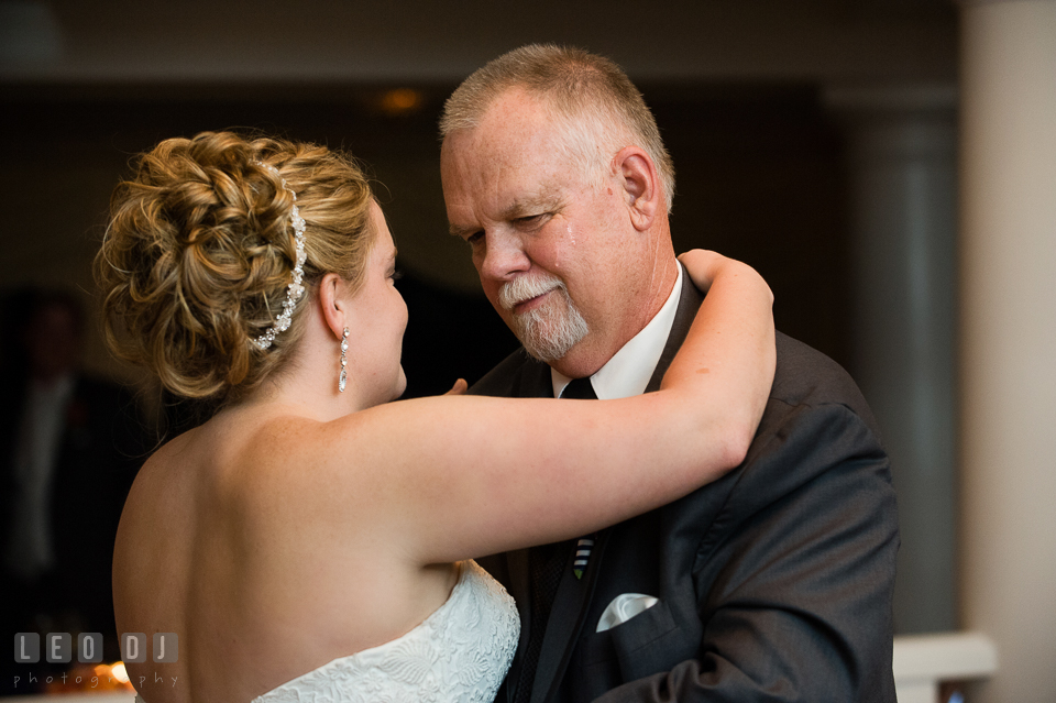 Tears roll down Father of the Bride's cheek during father-daughter dance. Kent Manor Inn, Kent Island, Eastern Shore Maryland, wedding reception and ceremony photo, by wedding photographers of Leo Dj Photography. http://leodjphoto.com
