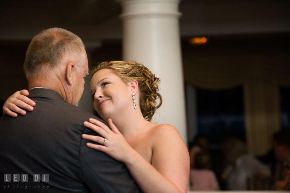 Bride gazing and adoring her father during father-daughter dance. Kent Manor Inn, Kent Island, Eastern Shore Maryland, wedding reception and ceremony photo, by wedding photographers of Leo Dj Photography. http://leodjphoto.com