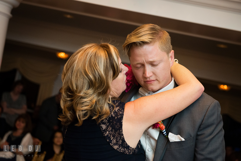 Touching moment when the Mother of the Bride dances with the Groom, representing his late mother. Kent Manor Inn, Kent Island, Eastern Shore Maryland, wedding reception and ceremony photo, by wedding photographers of Leo Dj Photography. http://leodjphoto.com