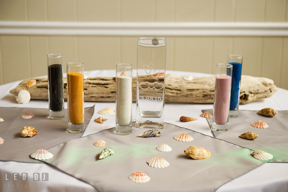 Colorful sands for unity sand. Maryland Yacht Club wedding at Pasadena Maryland, by wedding photographers of Leo Dj Photography. http://leodjphoto.com