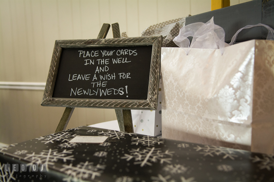 Sign for the guests to leave gifts or cards for the newlyweds. Maryland Yacht Club wedding at Pasadena Maryland, by wedding photographers of Leo Dj Photography. http://leodjphoto.com