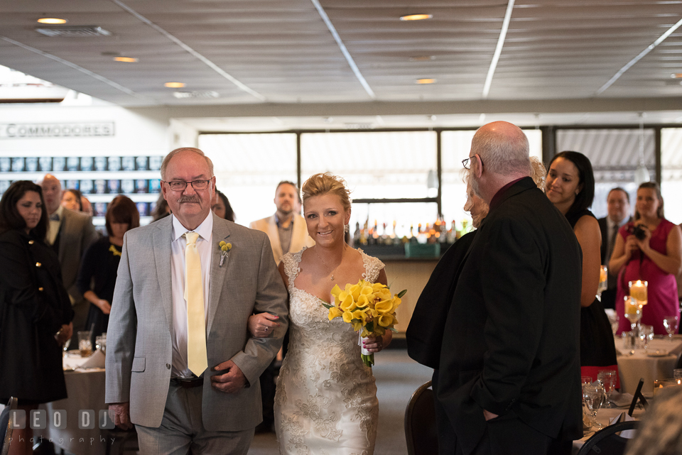 Father of the Bride escorting his daughter walking down the aisle. Maryland Yacht Club wedding at Pasadena Maryland, by wedding photographers of Leo Dj Photography. http://leodjphoto.com