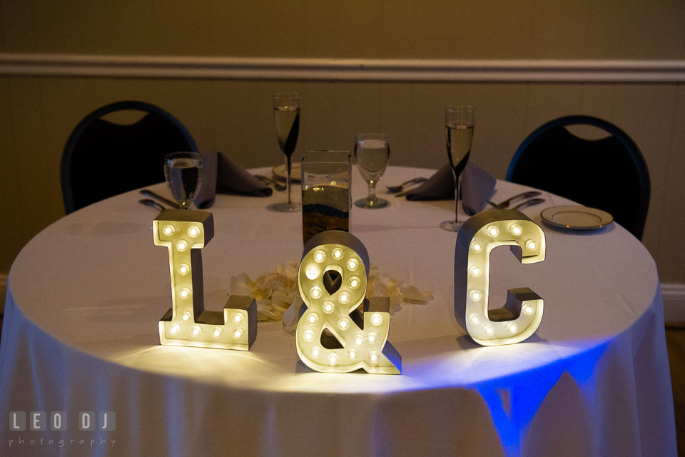 Sweet heart table with the Bride and Groom's initial letters with light. Maryland Yacht Club wedding at Pasadena Maryland, by wedding photographers of Leo Dj Photography. http://leodjphoto.com