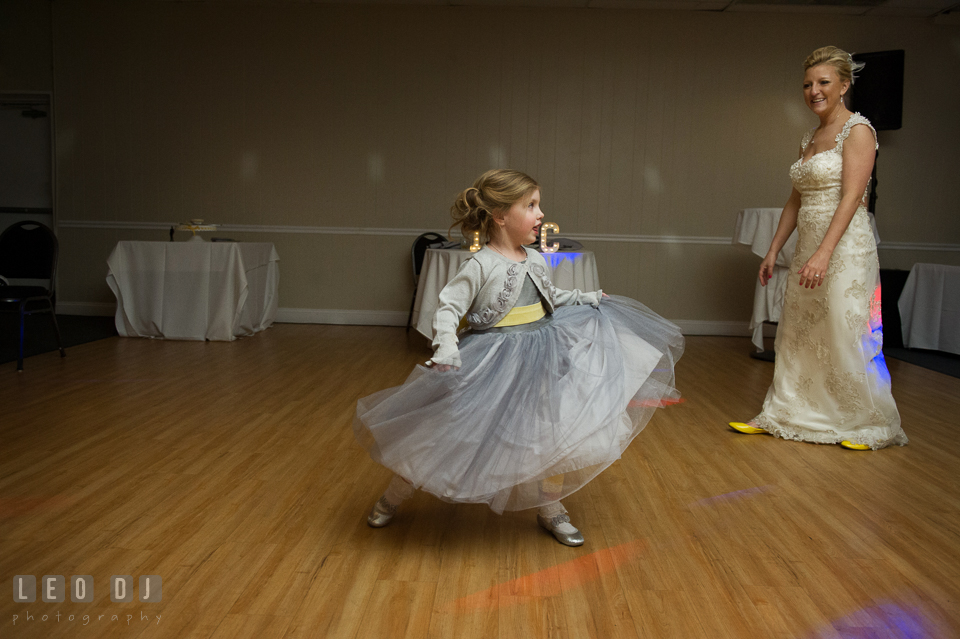 "Flower girl dancing to the song  ""Let It Go"" from the Disney animate movie ""Frozen"". Maryland Yacht Club wedding at Pasadena Maryland, by wedding photographers of Leo Dj Photography. http://leodjphoto.com"