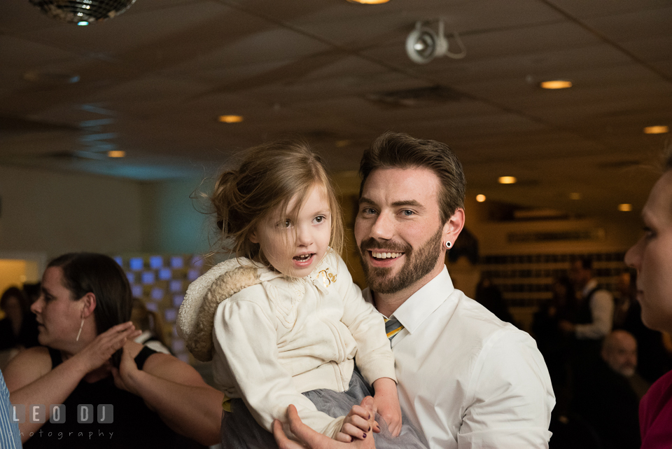 Flower girl dancing with the Best Man. Maryland Yacht Club wedding at Pasadena Maryland, by wedding photographers of Leo Dj Photography. http://leodjphoto.com