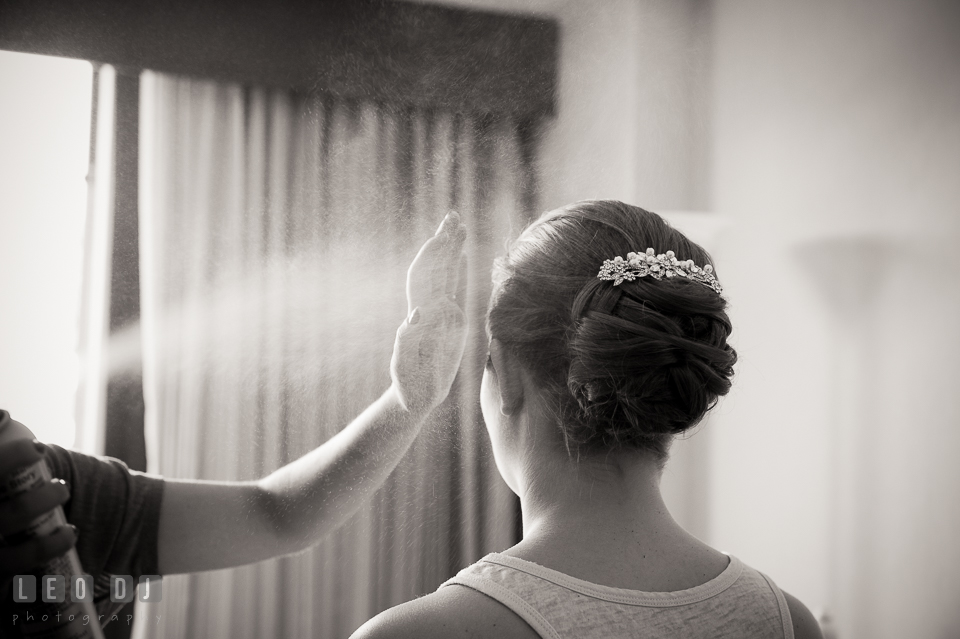 Embassy Suites Baltimore Hunt Valley hairspray for Bride hair up-do photo