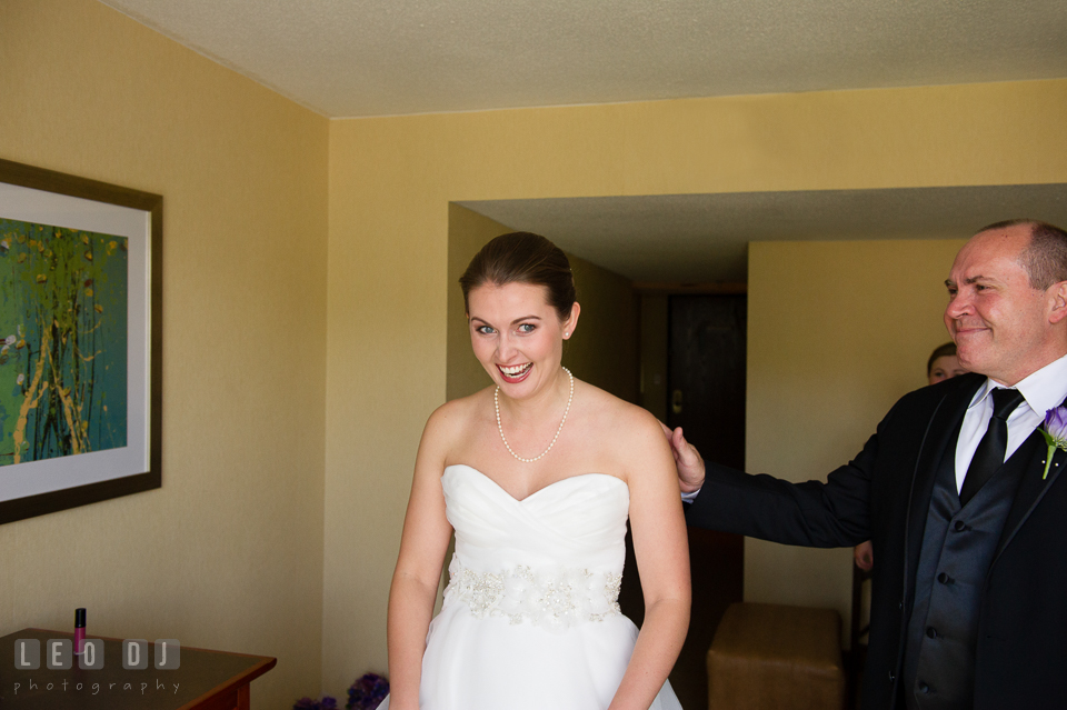 Embassy Suites Baltimore Hunt Valley Bride smiled during first look with Dad photo