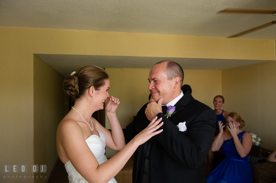 Embassy Suites Baltimore Hunt Valley Bride cried during first look with Dad photo by Leo Dj Photography