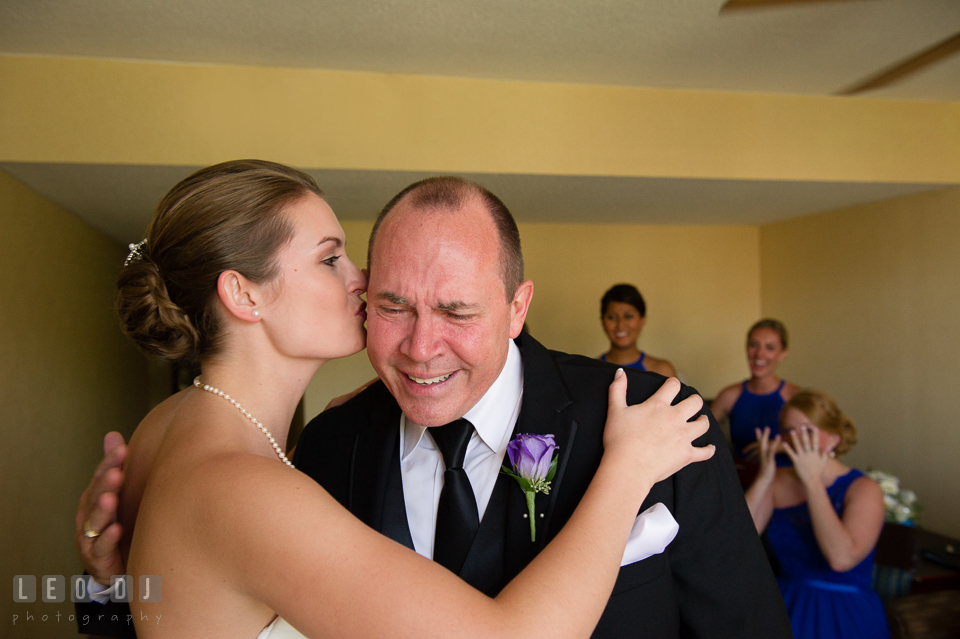 Embassy Suites Baltimore Hunt Valley Bride kissed during first look with Father photo