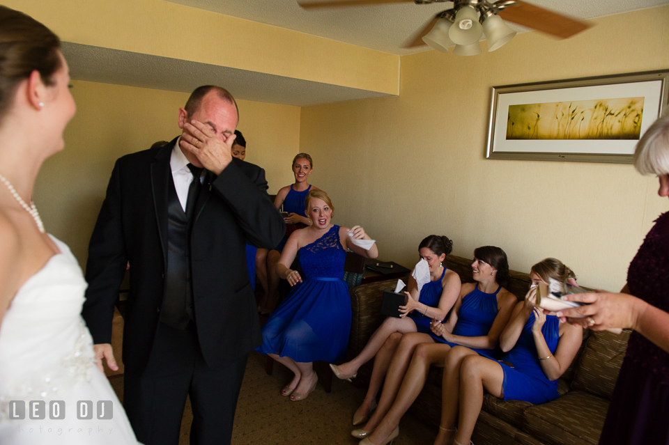 Embassy Suites Baltimore Hunt Valley Bridesmaids cried during first look Bride with Dad photo