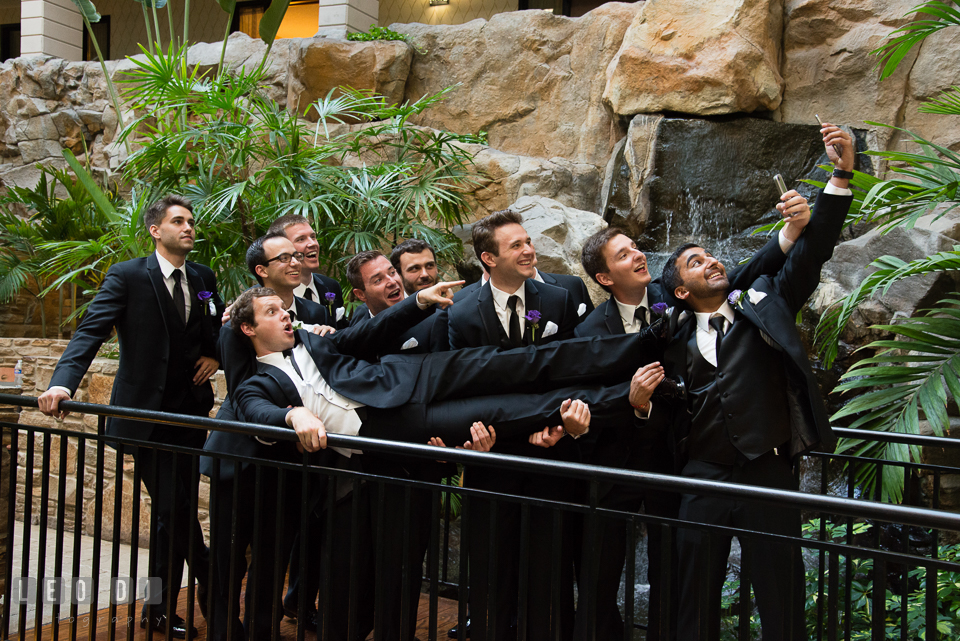 Embassy Suites Baltimore Hunt Valley Groom and Groomsmen doing silly selfie photo