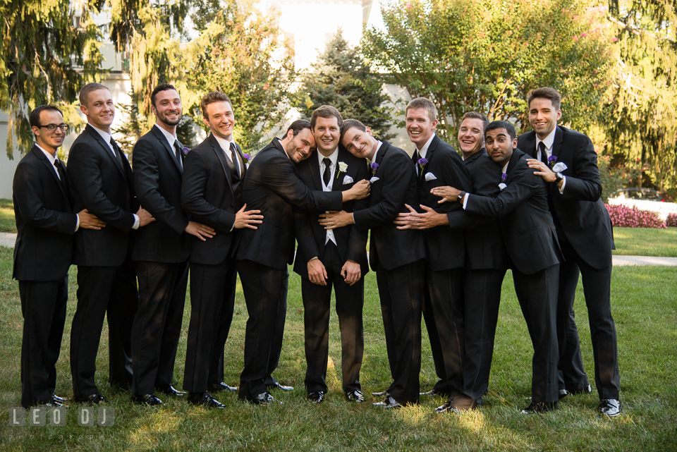Baltimore Maryland Groom and Groomsmen hugging photo