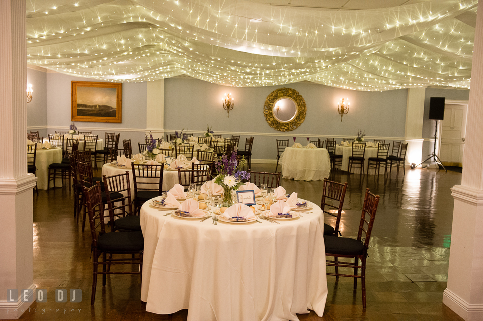 The Mansion at Valley Country Club ballroom table setting with string lights photo