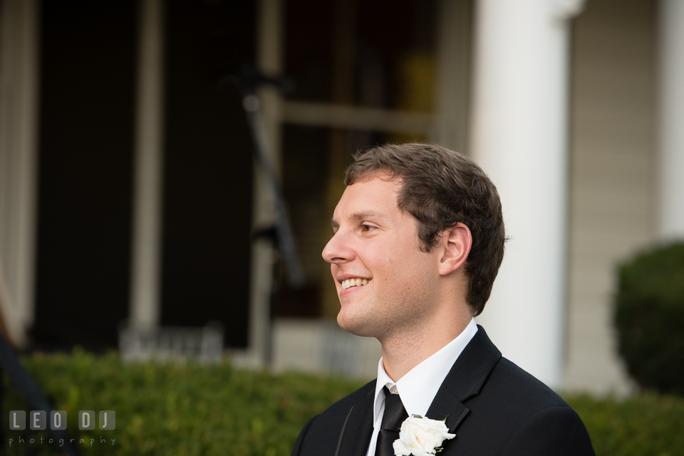 The Mansion at Valley Country Club Groom seeing Bride first time during ceremony photo