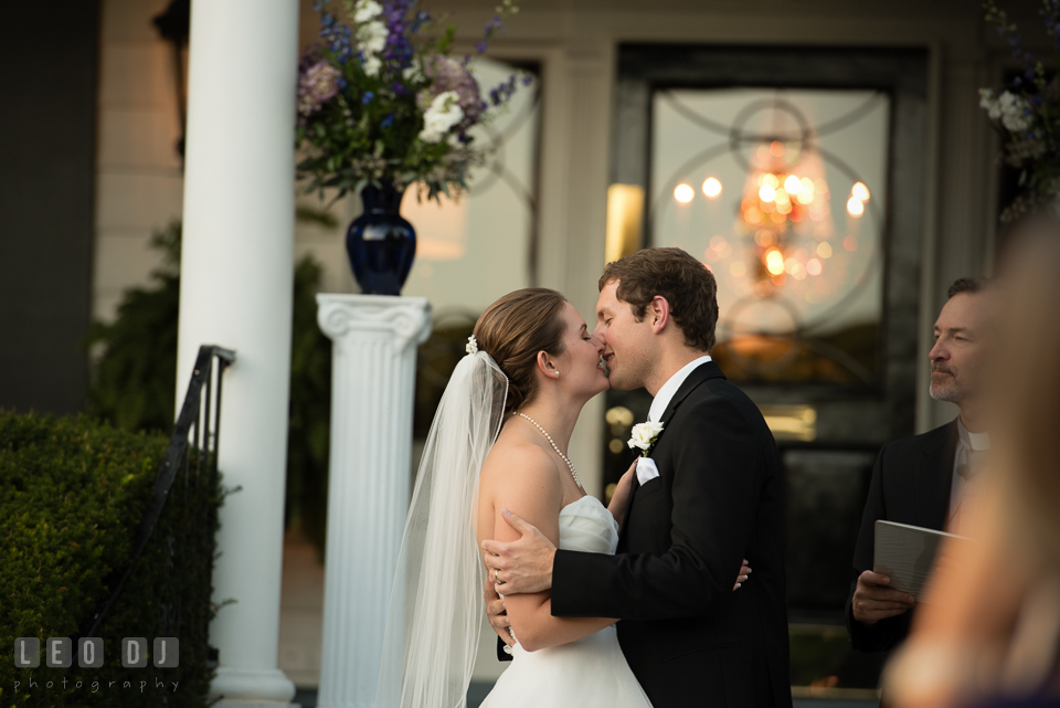 The Mansion at Valley Country Club first kiss during ceremony photo