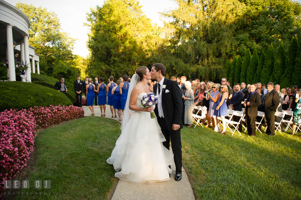 The Mansion at Valley Country Club newlywed kissed after ceremony photo by Leo Dj Photography