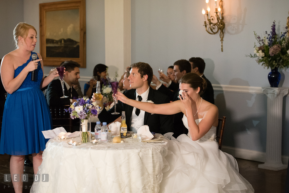 The Mansion at Valley Country Club Bride wipe of tears as Maid of honor gave toast speech photo